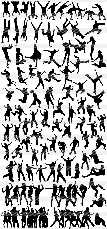 アクションポーズのシルエット Illustratorのモノクロシルエット